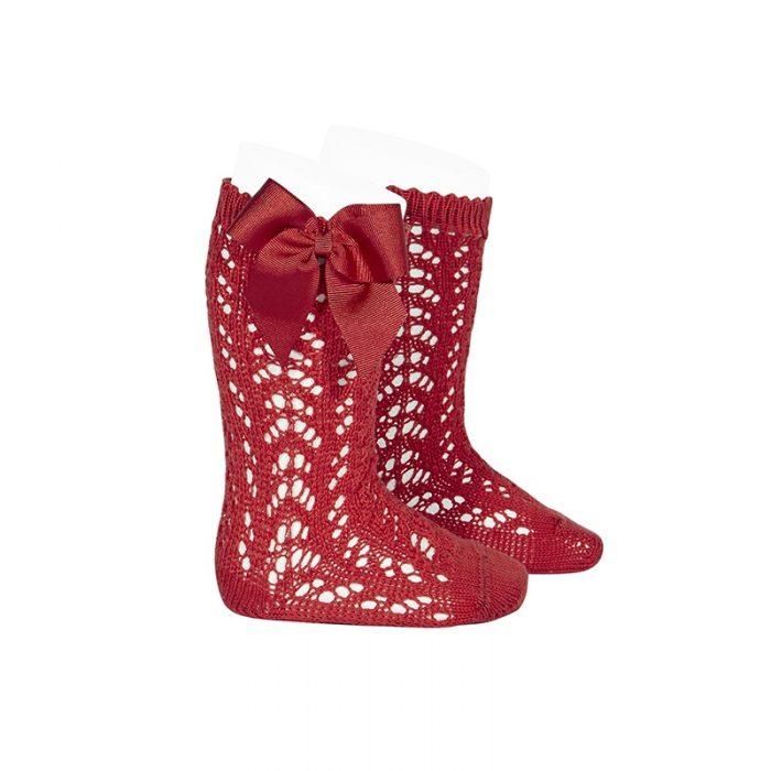 calcetines-altos-calados-con-lazo-rojo
