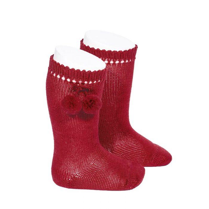 calcetines-altos-perle-con-borlas-rojo